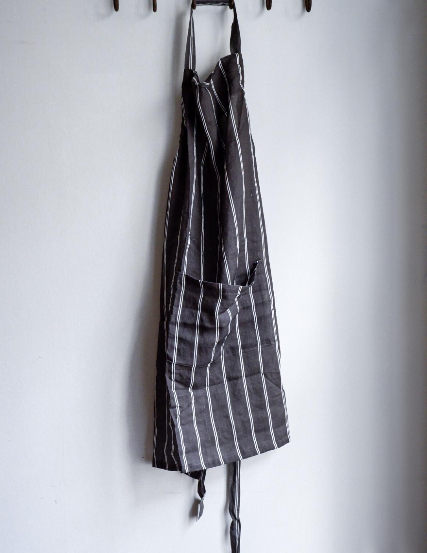 Linen Apron Striped Dark Grey