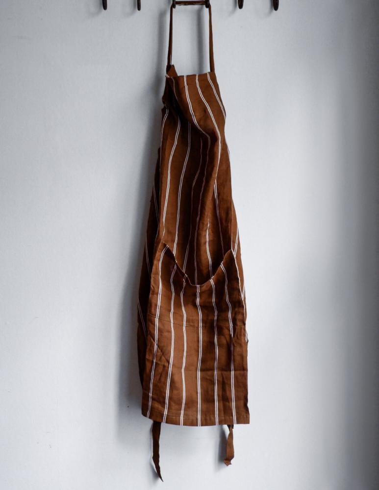 Linneförkläde Randig Kummin