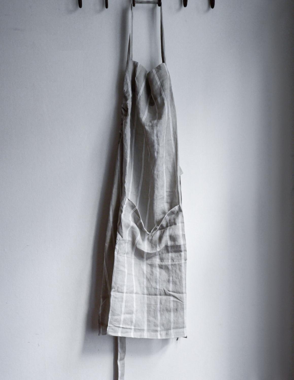 Linen Apron Striped Light Grey