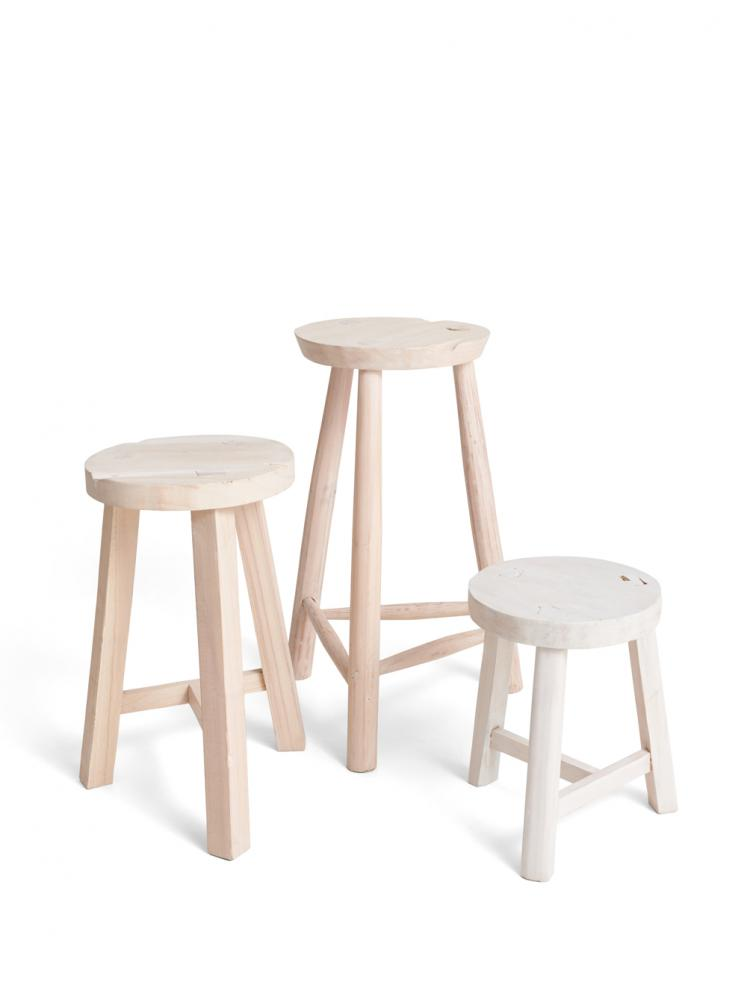 White Stool Reclaimed Wood
