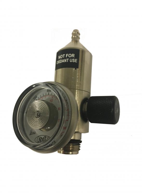 Fastflödesregulator mässing 0,5l/min till engångscylinder