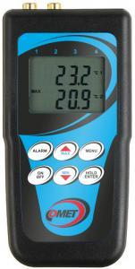 Handhållen temperaturlogger för två externa temperaturgivare typ Pt1000