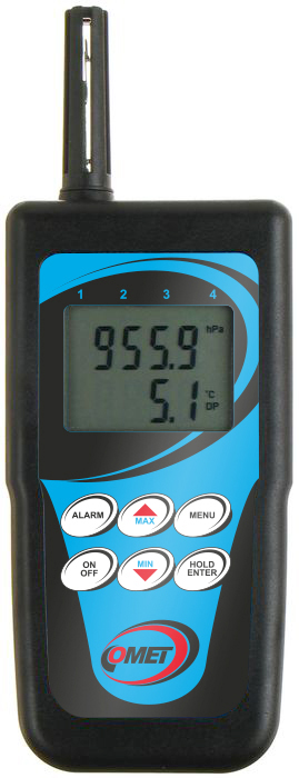 Handhållen temperatur- och luftfuktighetslogger med intern givare