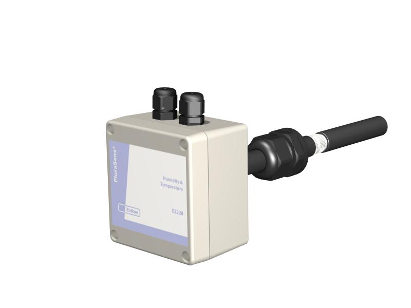 Temperatur- & luftfuktighetstransmitter för kanal med analog ut, reläutg & RS485