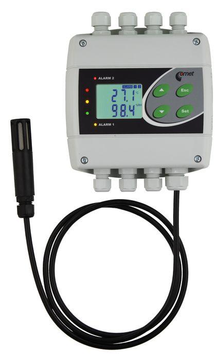 Temperatur- och luftfuktighetsregulator med extern givare och RS232