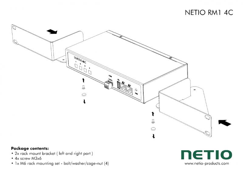 "19"" vinkelkonsoller för en Netio 4C"