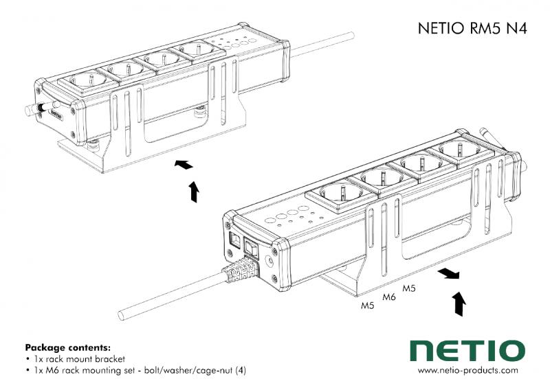 """Vinkelkonsoll för vertikal montering av Netio 4 eller 4 All i 19"""" rack"""
