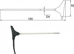 Insticksgivare T Pt1000 med kabel och ELKA-kontakt