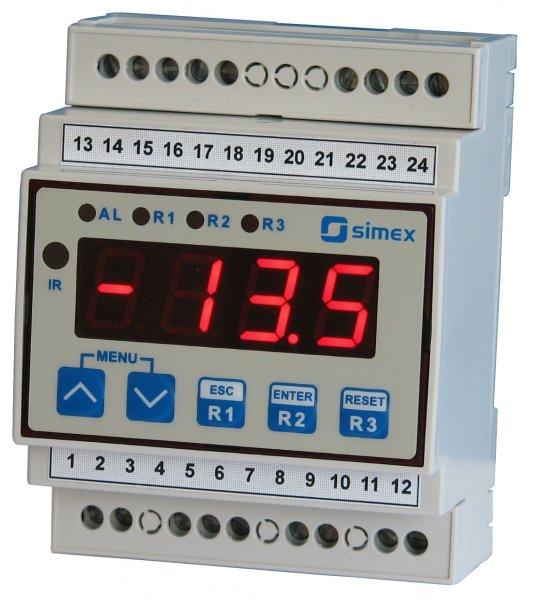 Display/regulator för Pt100/Pt500/Pt1000 och DIN-skena