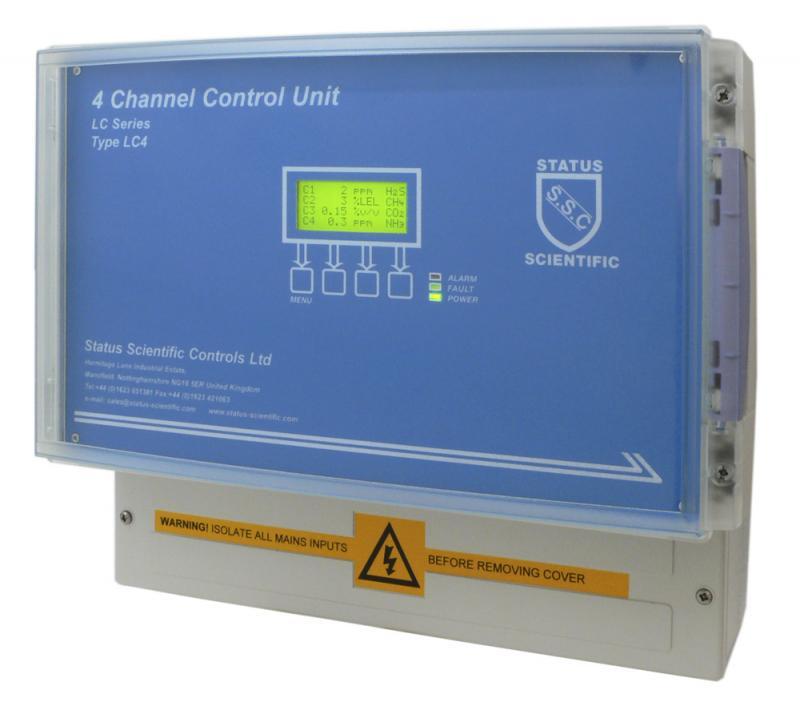 Gaslarmcentral för upp till fyra gasdetektorer/gastransmittrar