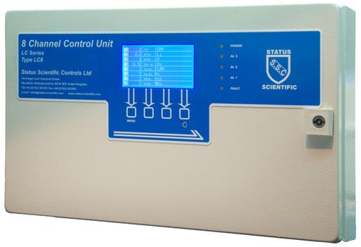 Gaslarmcentral för upp till åtta gasdetektorer/gastransmittrar