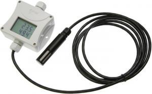 Temperatur- och luftfuktighetstransmitter med extern givare och display 0-10V