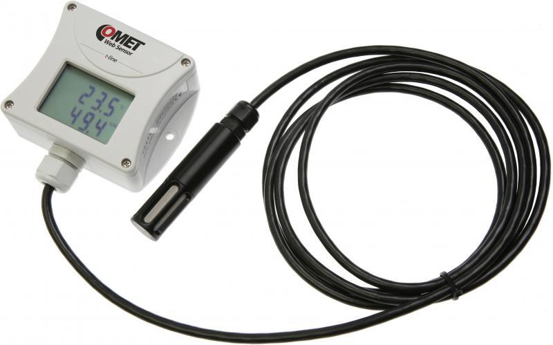 Temperatur- och luftfuktighetsmätare med extern givare, display och Ethernet