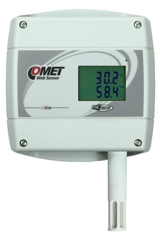 Temperatur- och luftfuktighetsmätare med display och Ethernet PoE