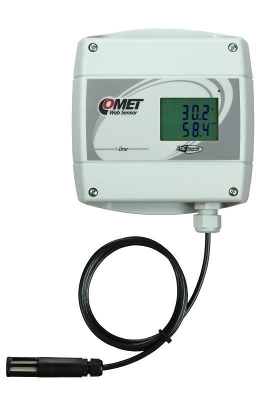 Temperatur- och luftfuktighetsmätare med extern givare, display och Ethernet PoE