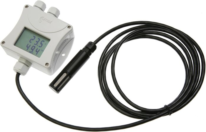 Barometertrycks-, temperatur- och luftfuktighetstransmitter med extern givare och display RS485