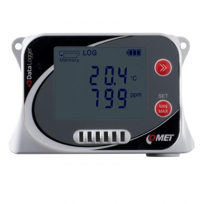Temperatur-, luftfuktighet-, barometertryck- & CO2-logger