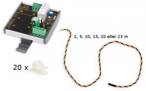 Vattenläckagelarm med sensor- och anslutningskabel