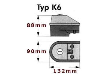 Kopplingsbox K6 till elpatroner en bild som visar yttre mått