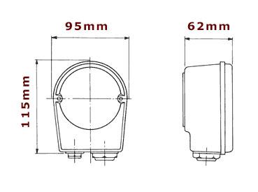 Kopplingsbox BK7 till elpatron en bild som visar yttre mått