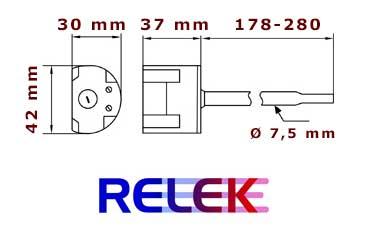 enpolig termostat från Sunvic bild som visar mått och dimensioner