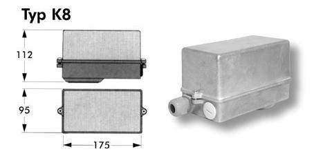 Kopplingsboxen, modell K8, tillverkad av pressgjuten aluminium.
