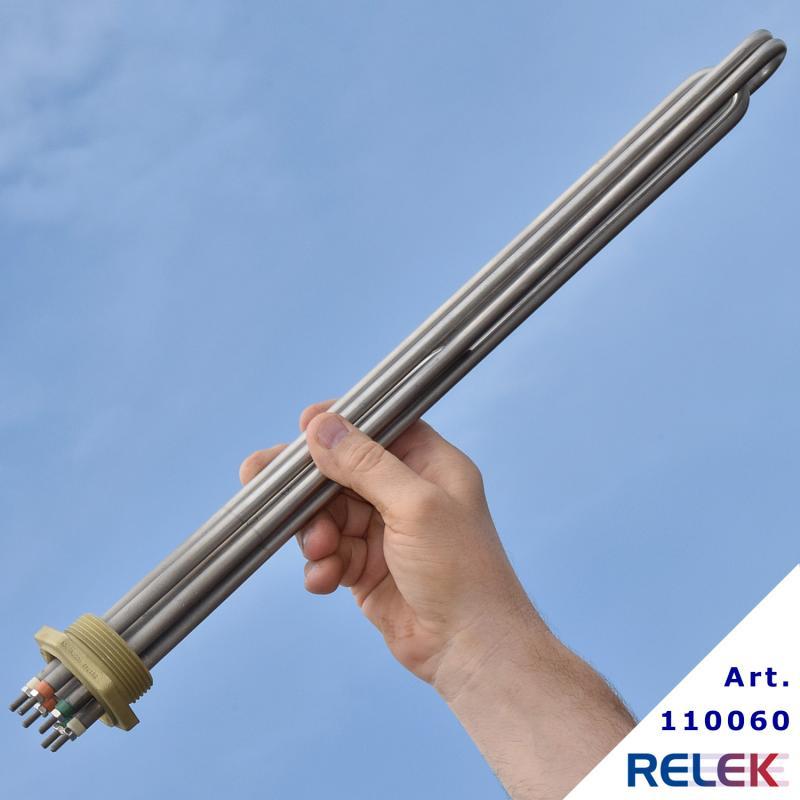 elpatronelement för vattenuppvärmning med R40 som kopplas in i olika effektsteg