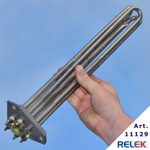 Rostfritt elpatronelement med effekt 2,25 kw, som har triangelfäste / trekantsfläns, modell CTC.