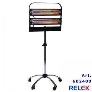 IR-värmare, flyttbar, 2x1000W, på stativ med hjul, svart