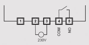 kopplingsschema för denna mottagare och reläkontakt som används för trådlös styrning