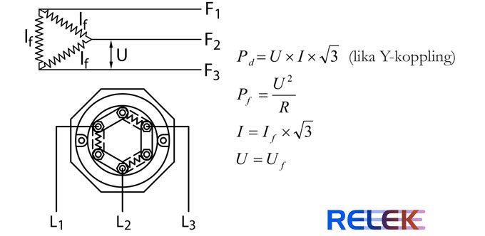 Formler och inkopplingar för D-koppling av elpatroner och deltakoppling