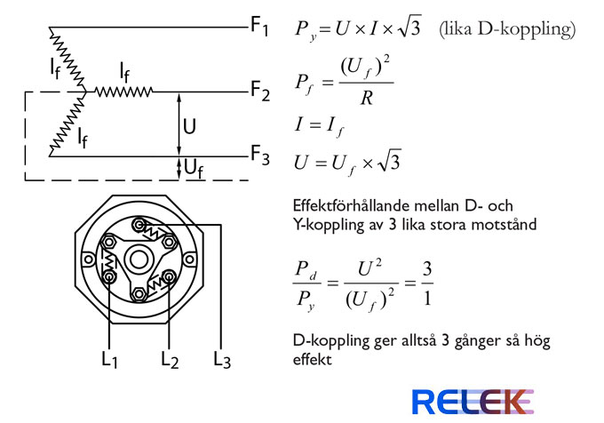 Formler och inkopplingar för Y-koppling av elpatroner och stjärnkoppling