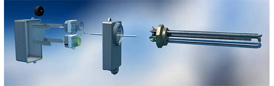 Elpatroner från RELEK: cirka 200 olika modeller. Skiss som visar hur en elpatron kan vara uppbyggd.