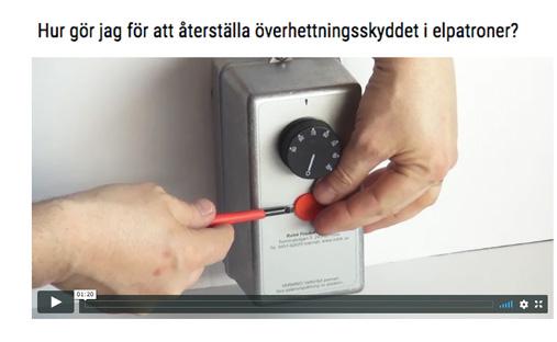 Länk till en film på RELEKs webbsida som visar hur du återställer överhettningsskydd  instruktion som gäller för de flesta elpatroner
