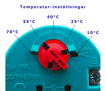 termostat kombinerad med överhettningsskydd temperatur 10 till 70 grader modell TSE00187  som ofta används till varmvattenberedare en bild som visar olika temperaturinställningar