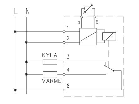 skiss som visar hur denna elektroniska termonic termostat växlar mellan värme och kyla