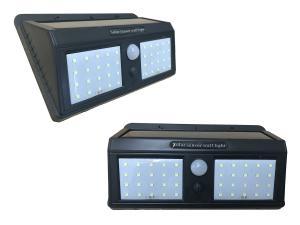 Väggbelysning LED med PIR rörelse detektor solcell - Dubbel