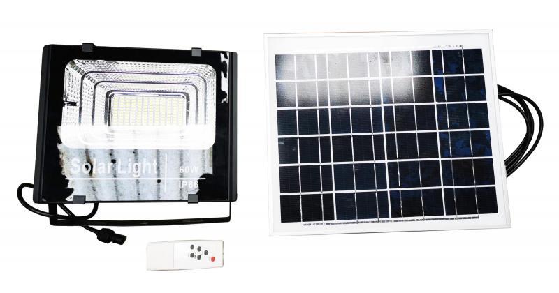 LED strålkastare solcell 2 x 60W 6400 Lumen