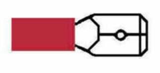 Kabelskor Flatstift Röda Isolerade 6,3mm - 50-pack