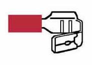 Kabelskor Dubbelflatstift Röda Isoerade 6,3mm - 50-pack