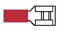 Kabelskor Flatstifthylsor Röda Isolerade 6,3mm - 50-pack