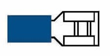 Kabelskor Flatstifthylsor Blåa Isolerade 6,3mm - 50-pack