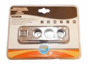 Billaddare - 3st 12V uttag - 2st USB uttag