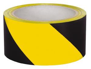 Varningstejp Gul/Svart PVC 160mic x 50mm x 20meter C72