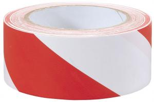Varningstejp Röd/Vit PVC 160mic x 50mm x 20meter C72