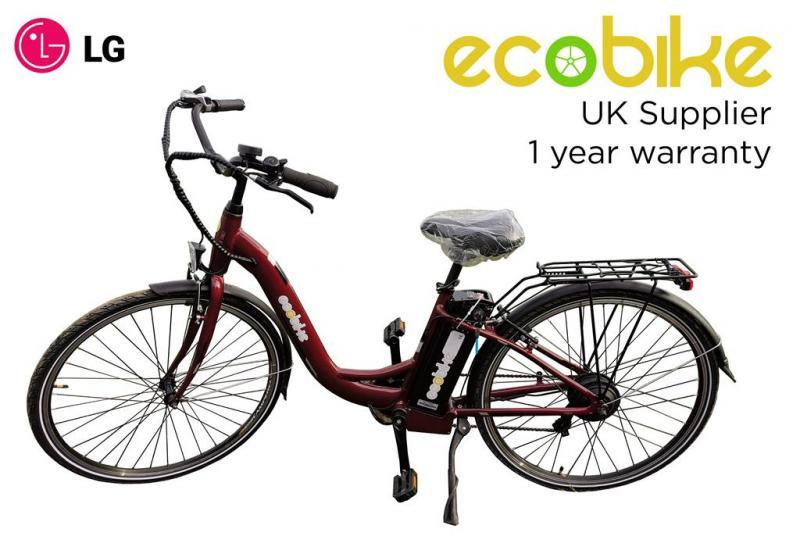 """Elcykel Unisex 26"""" - Mörkröd - LG batteri - Tillverkad i Europa"""
