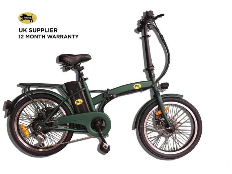"""Elcykel Roadhog - vikbar med grön stålram - 20 """"hjul"""