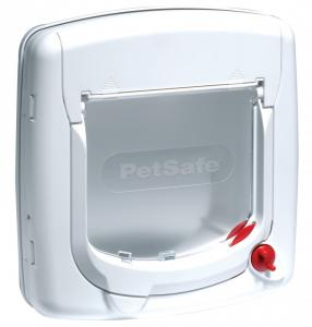 Petsafe Deluxe kattlucka, vit, 4 låsmekanism