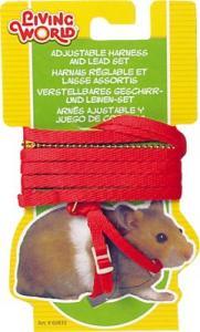 Hamstersele med koppel - röd