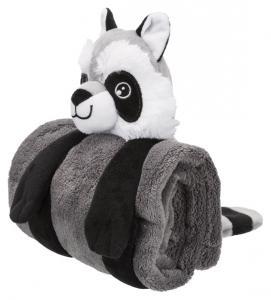 Cuddly Set, tvättbjörn med filt, plysch,75 × 50 cm, mörkgrå